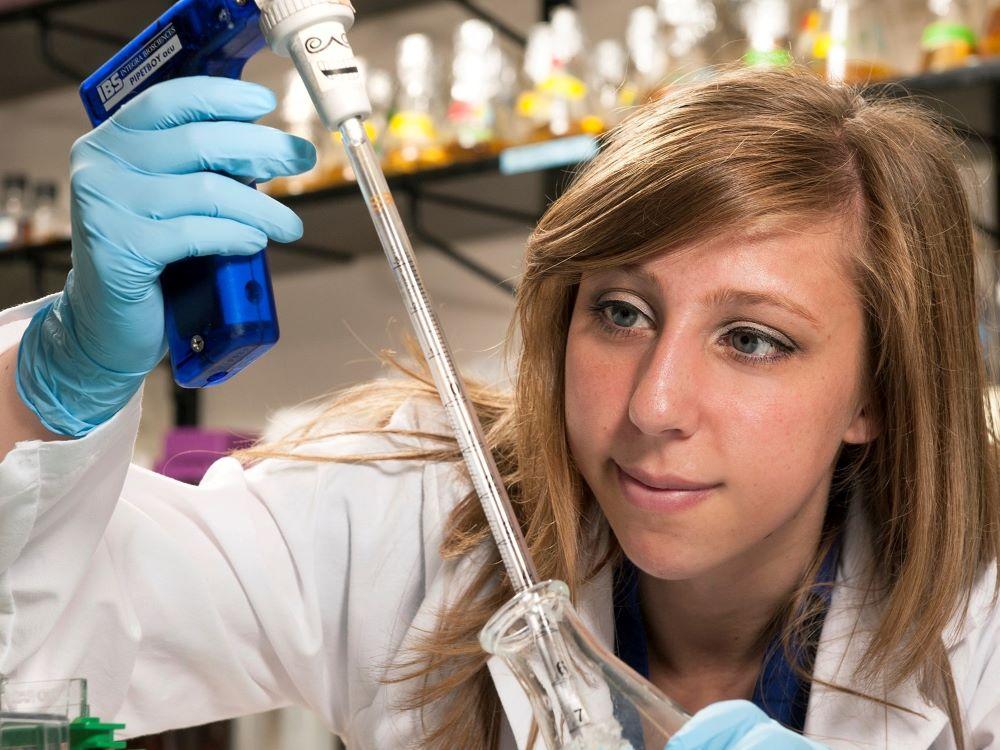 female researcher in lab