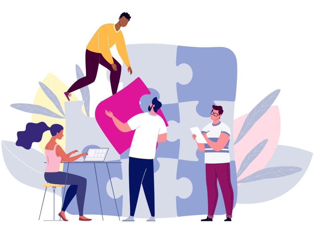 illustration of people completing a puzzle