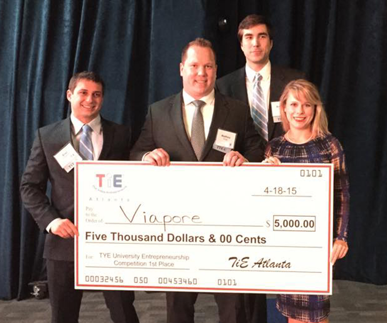 Viapore team members at the TiE Atlanta Young Entrepreneurs University Competition