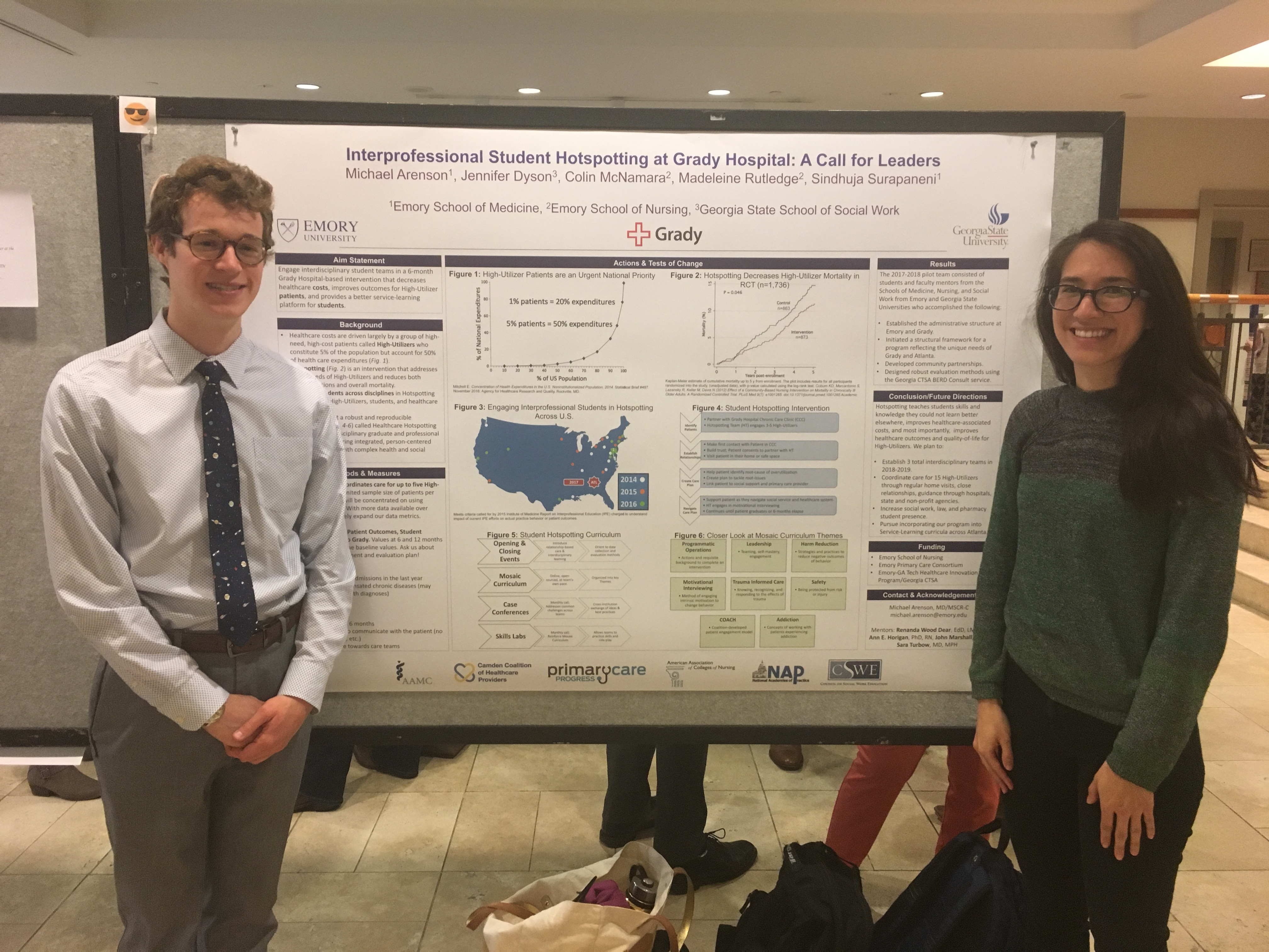 Caption: Colin McNamara BSN, RN and fellow nursing student Madeleine Rutledge (SON NP student) presenting the hotspotting project at Nell Hodgson Woodruff School of Nursing Student Scholars Day. This poster was also presented at the 11th Emory Quality Conference by Georgia CTSA MSCR scholar Michael Arenson (M3, MSCR), at the 5th Annual Health Services Research Day by Jennifer Dyson (Georgia State University MSW candidate), and at the Medical Student Poster Competition by Sindhuja Surapaneri (M3).